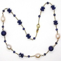SILVER 925 NECKLACE, YELLOW, LAPIS LAZULI BLUE DISCO AND SPHERES, PEARLS, 45 CM image 2