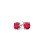 Women's 1 Ct Twt Red Ruby Stud  Earrings in Sterling Silver - $227.21