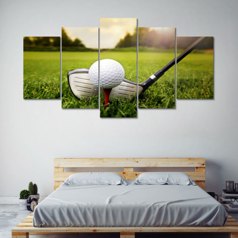 Framed 5 Piece Golf Course Club Golfing Poster Canvas Prints Wall Art Home Decor Posters Prints