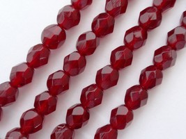 25 6mm Czech Glass Fire Polished Beads -- Garnet - $1.83