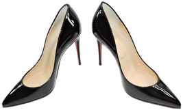 Christian Louboutin PIGALLE Pumps Shoes 36.5 Black Patent Leather - $399.98