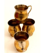 ANTIQUE SET OF 4 CUPS BEAUTIFUL COLLECTIBLE ITEM FOR DECOR BRASS BRONZE.  - $64.05