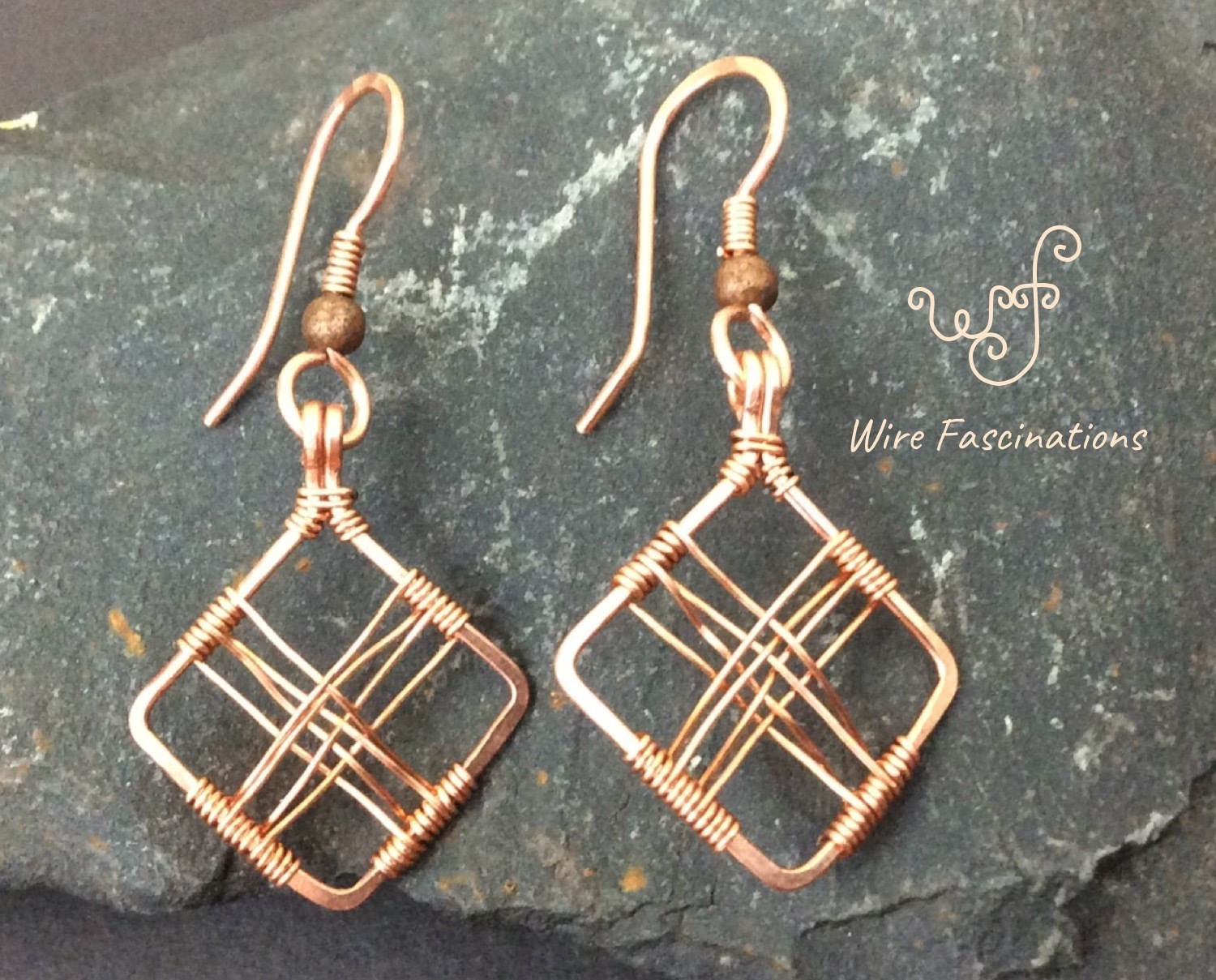 Handmade copper earrings diamond frame cross wire wrapped front