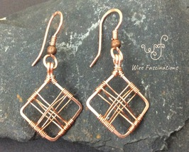 Handmade copper earrings: square diamond frame cross wire wrapped - $28.00