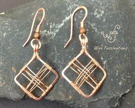 Handmade copper earrings: square diamond frame cross wire wrapped - $28.00