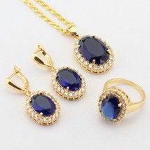 WPAITKYS Blue Semi-precious Gold Color Jewelry Sets For Women Drop Earri... - $28.93