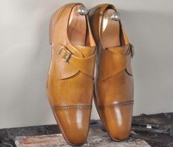 Handmade Men's Tan Leather Dress/Formal Monk Strap Shoes image 3