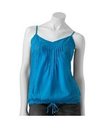 SO Girls 7-16 Blue Texture Tie Bottom Camisole Tank Top - $13.99