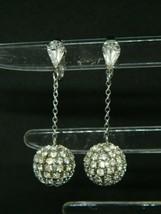 Clear Rhinestone Disco Ball Silver Tone Dangle Clip Vintage Earrings - $19.79