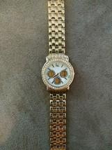 Quartz watch wristwatch day of the week 1141 L346 08 pearl or shell rhin... - $9.99