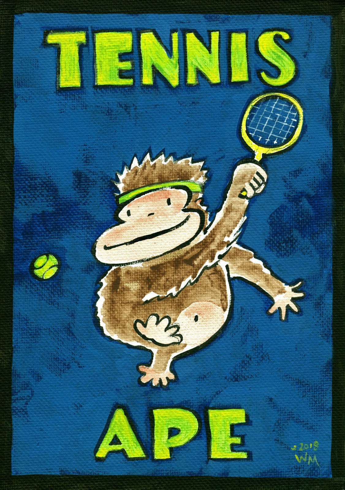 "Tennis Ape, Original Painting by Walter Moore 5 x 7"" (12.7 x 17.7 cm)"
