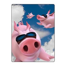 FAITOVE Super Flying Pig Throw Blanket Summer Cooling Lightweight Blanket for Co