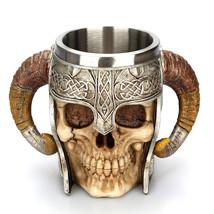 Stainless Steel Skull Mug Viking Ram Horned Pit Lord Warrior Beer Stein ... - $30.99