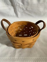 Longaberger Saffron Booking Small Round Basket with leather handles 1994 - $16.69