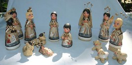 Vintage 14 Piece Mexican Nativity Manger Set Tonala Pottery Hand Painted - $125.00