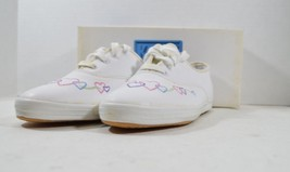 Vintage 90s Keds New Girls 4 Miss Champion Leather Linked Hearts Lace Up... - $28.66