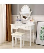 Makeup Vanity Dressing Table Desk Drawer Mirror Stool Set 10 Led Light B... - $149.98