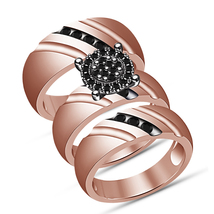 14K Rose Gold Finish 925 Silver His & Her Black Diamond Engagement Trio ... - $153.99