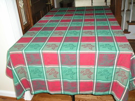Christmas Holly Leaf Jacquard Red/Green Checked Tablecloth 54 x 94 - $9.99