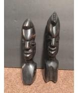 "Black African Culture Wooden Statues Set 7.5"" & 6.5"" Home Decor - $14.01"
