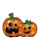 HALLOWEEN LIGHTED PUMPKIN WINDOW DECORATION - £17.29 GBP