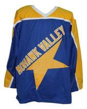 Custom Name # Mohawk Valley Stars Retro Hockey Jersey New Blue Any Size image 1