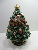 """Ceramic 2 Piece Holiday Christmas Tree Cookie Jar 12 1/4"""" Tall  - $19.99"""