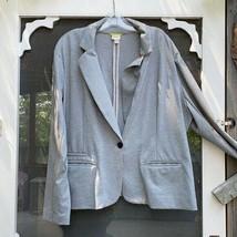 Volup Merona Grey Knit Blazer Single Button Soft Sz 4X Office Business - $29.70