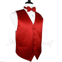FIRE RED Tuxedo Suit Vest Waistcoat and BUTTERFLY Bow tie Prom Wedding P... - $18.79+