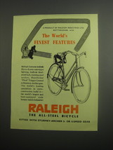 1948 Raleigh Bicycles Ad - The World's finest features - $14.99