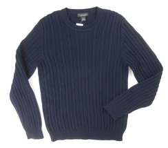 New $228 Bloomingdales Italy CASHMERE/WOOL Navy Thick Cable Knit Sweater Size L - $31.68