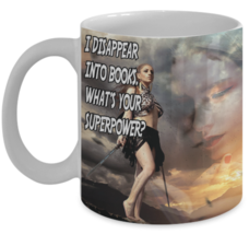 Reading Mug (11 oz) \ I Disappear Into Books.. \ Gift for Bookworm - £10.96 GBP