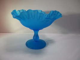Vintage Westmoreland Glass Blue Satin Frosted Footed Compote Scalloped E... - $16.59