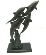 Bronze set of 4 Dolphins Swimming Together Statue Sculpture - $79.15