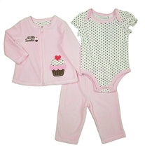 """First Impressions Infants 3pc """"Little Sweetie"""" Set, Pearl Pink Velvet, Size 18M - $19.79"""