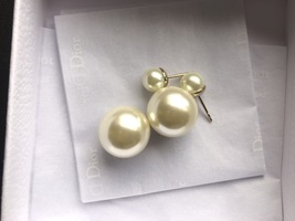 Auth Christian Dior Mise En Dior Tribales Double Pearl EARRINGS Classic Gold image 7