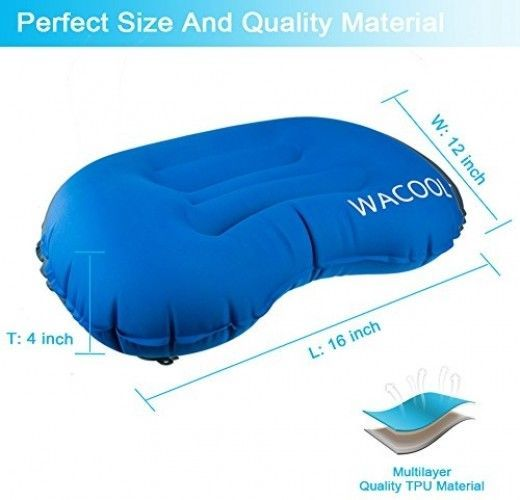 WACOOL Ultralight Inflating Travel Camping Pillow - Compressible, Compact, For
