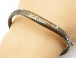925 Sterling Silver - Vintage Cubic Zirconia Dotted Wavy Bangle Bracelet... - $55.34