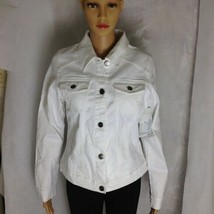 Woman's Lee White Stretch Denim Jean Jacket Indigo Riders Size Medium - $43.65