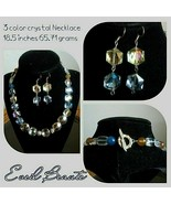 Beautiful 3 color Crystal Necklace and Earrings Set - New - $75.00