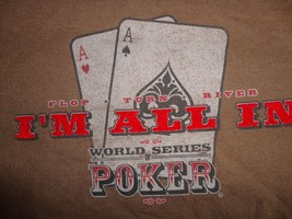 Brown World Series of Poker I'm All In T-Shirt Mens M Free US Shipping Excellent - $17.17