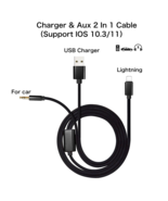 Aux Cord for iPhone x/8/7 Plus Aux Adapter USB charging Plug/3.5mm Audio... - $22.44
