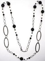 Collar Plata 925 Pulido, Ónix, Espinela, Largo 100cm, Cadena Ovalados image 2