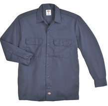 NEW DICKIES Men Long Sleeve Twill Work Shirt Original Fit Navy Blue Sz M - $22.76