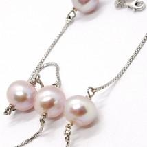 Necklace White Gold 750 18K, Pearl Purple, Lavender Pendant with Chain, Veneta image 2