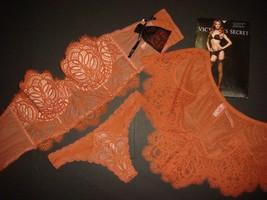 Victoria's Secret longline 34C,34DD BRA SET+M thong+shorts GINGER dulce de leche - $98.99