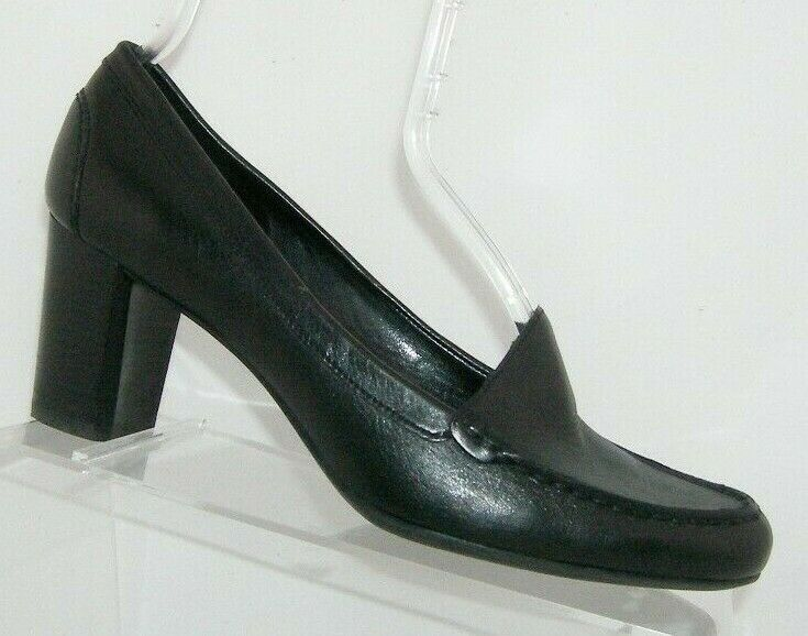Franco Sarto 'Nation' black leather round toe slip on loafer stacked heels 8M