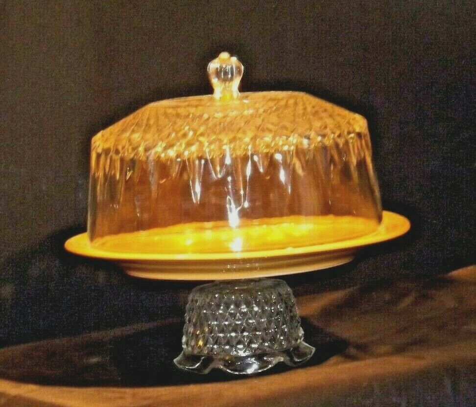 Ceramic Cake Plate and Crystal Cover Heavy AA19-LD11936 Vintage