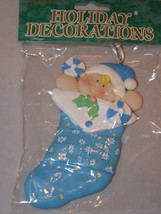 Commodore Resin Ornament - Baby Blue Christmas Stocking - $6.64