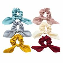 10 Pcs Multicolor Rabbit Ears Floating Ribbon Hair Band Tassel Knotted Hair Scru